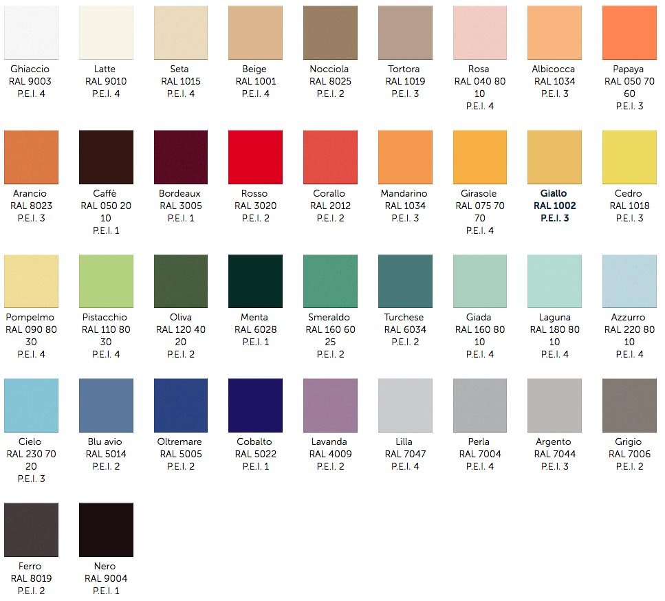Interni Collection color options