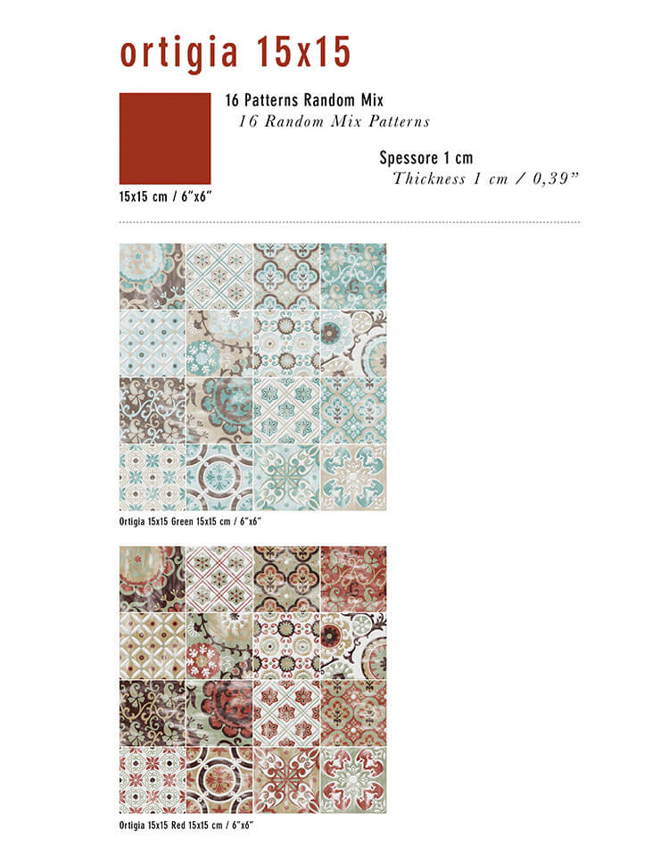 Ortigia 15x15 Collection pattern options