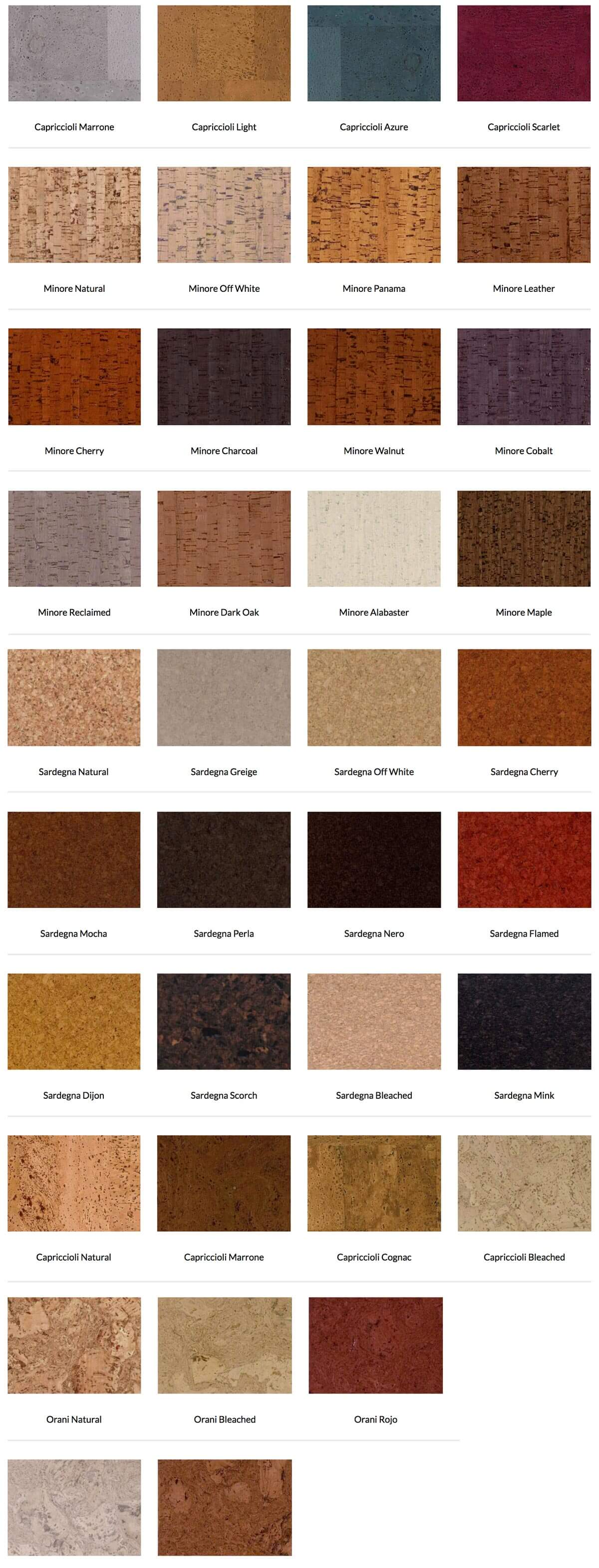Classic Cork Tile color options